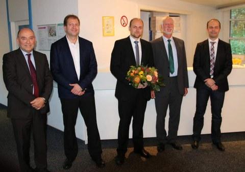 500. Disputation an der TF,  Sönke Grunau mit Mitgliedern der Prüfungskommission