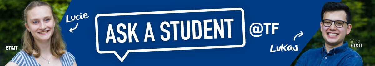 ask a student @ TF - dahinter auf Kreidetafel vielerlei Fragezeichen