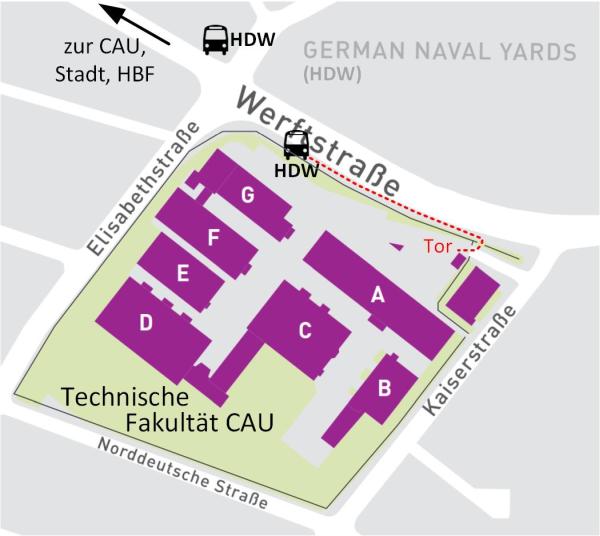 Karte der Technischen Fakultät im Stadtteil Gaarden